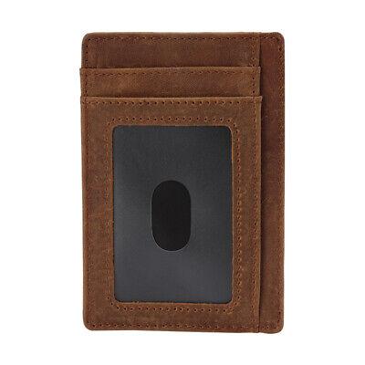 New Genuine Leather Slim Card Holder Wallets For Men - Minimalist RFID Blocking 12