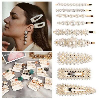 Pearl Acrylic Crystal Hair Clip Slide Hair Pin Barrette Bridal Hair Accessories 2