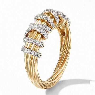 Elegant Women Wedding Ring 18k Yellow Gold Plated White Sapphire Size 6-10 2