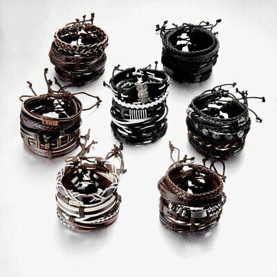 5/6pcs Fashion Mens Punk Leather Wrap Braided Wristband Cuff Bangle Bracelet New 6