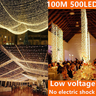 100M 500 LED Fairy String Lights Warm White Outdoor Christmas Flashing party SAA