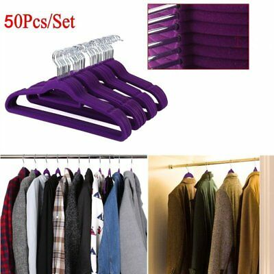 50X Perchas antideslizante de Lujo Terciopelo flocado ropa abrigo Pantalón Colga 10