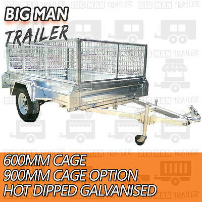 7x4 hot dip galvanised box trailer fully weld removable 600mm cage single tipper 2