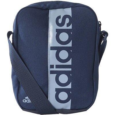 ... 2 of 10 adidas Mens Linear Performance Organiser Shoulder Small  Messenger Bag Black Blue 5 817278e1e1fec