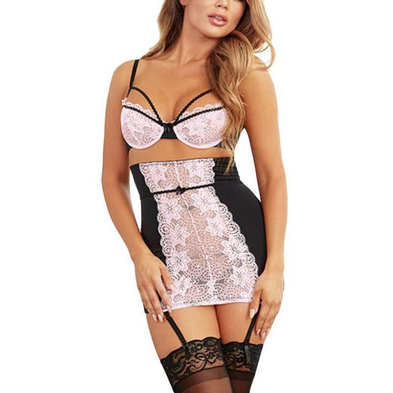 Womens Sexy Lingerie Stocking Bodysuit Sets Lace Bodycon Mini Dress Sleepwear 12 4