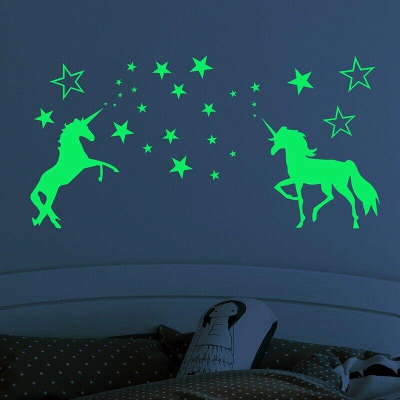 Stickers Licorne & Étoiles brillent dans le noir Décors de chambre d'enfants ^ 7
