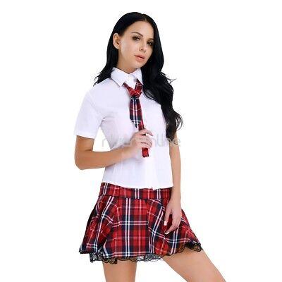 Schulmädchen Uniform Cosplay Fasching Kostüm Minirock mit Bluse und Krawatte Set 2