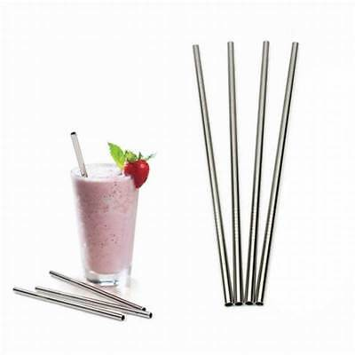 4 Straight Reusable Drinking Straws Metal Stainless Steel Eco-Friendly 10.5in 3