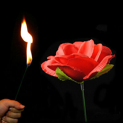 New Stage Close Up Magic Trick Torch Rose to Fire Tricks Flame Appearing Flower 3