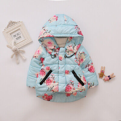 Toddler Baby Girls Floral Hooded Coat Outerwear Kids Jackets Warm Winter Clothes 4