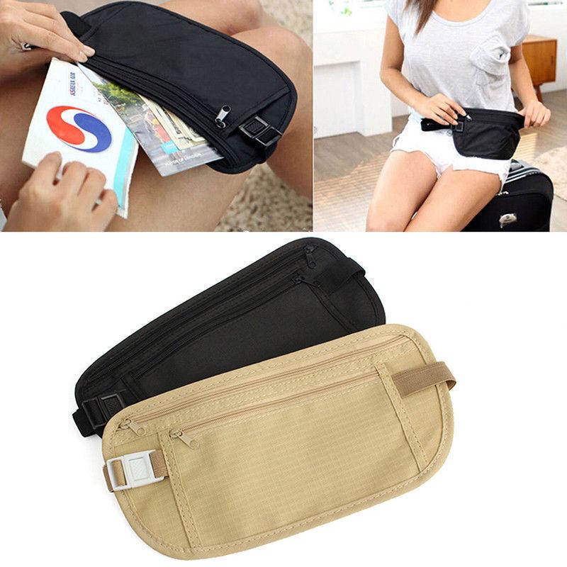 New Travel Waist Pouch for Passport Money Belt Bag Hidden Security Wallet Black 12