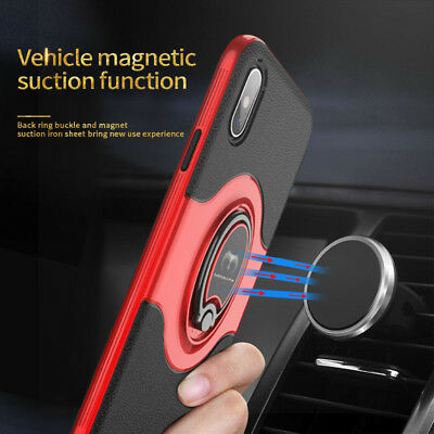 For iPhone XS Max XR XS X Ring Magnetic Shockproof Hybrid TPU Bumper Case Cover 6