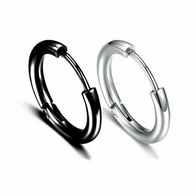 2PC Multi-Sizes UNISEX MENS WOMENS STAINLESS STEEL HOOP HUGGIE SLEEPER EARRINGS 7