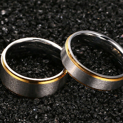 316L Stainless Steel Silver Brushed Gold Plating Bands Men Women's Couple Rings 8