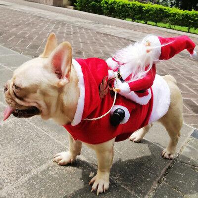 Christmas Santa Claus Pet Dog Fancy Dress Jacket Coat Costume Outfit Clothes we 4