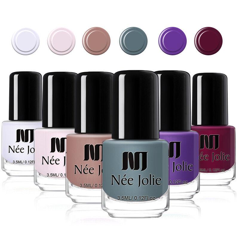 NEE JOLIE 3.5ml Matte Nail Polish Pure Tips Purple Green Black Nail Art Varnish 8