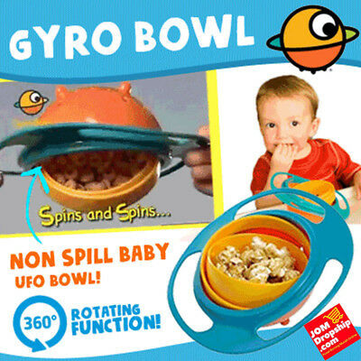 Spill-Proof Food Gyro Feeding Bowl Dish 360 degree Rotate lid Baby Kids Tablewar 5