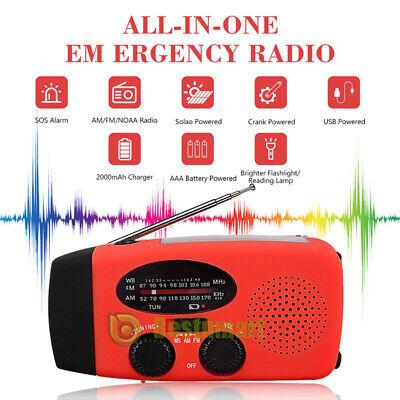 1000mAh Emergency Solar Hand Crank Radio NOAA Weather w/AM/FM LED Flashlight SOS 2