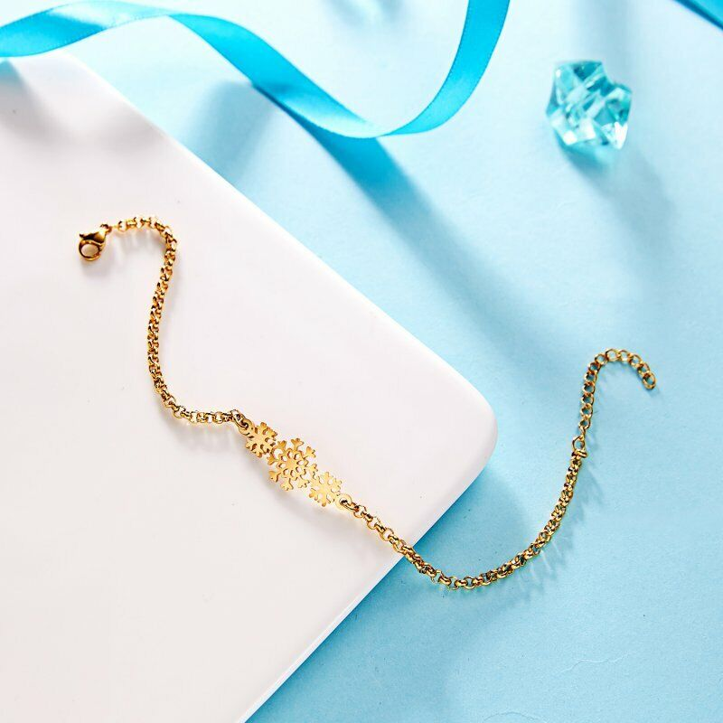 Women Gold Stainless Steel Love Heart Chain Cuff Bracelet Bangle Jewelry Gifts 10