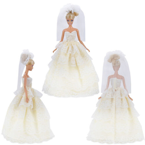 Handmade White Princess Wedding Dress Gown With Veil For 29cm Barbie Doll..