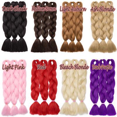 Colored Crochet Hair Extensions Kanekalon Hair Synthetic Braids Jumbo Braiding 8
