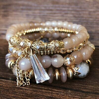 Women Boho Multi-layer Crystal Beaded Beads Bohemia Cuff Bracelets Set Bangle 5