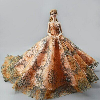 "Orange Fashion Wedding Dress for 11.5"" Doll Clothes Princess Evening Dress Toy 3"