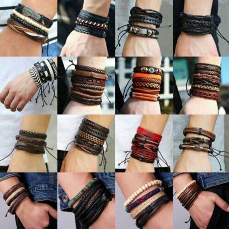 4Pcs Punk Multilayer Leather Bracelet Men's  Women Wristband Bangle Jewelry Set 6