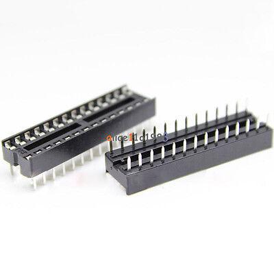100PCS 28-Pin 28P Narrow DIP IC Sockets Adaptor Solder Type Socket 2.54mm Pitch 3