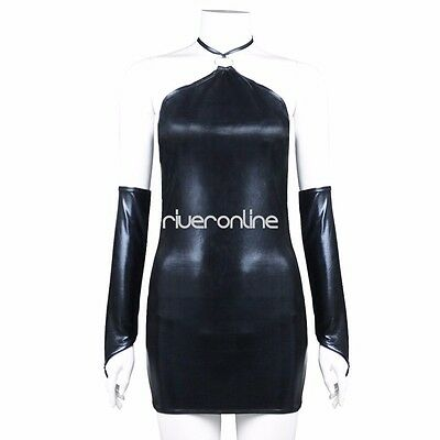Damen PU Leder Wetlook Clubwear Party Minikleid G-String Handschuhe Dessous Set 6