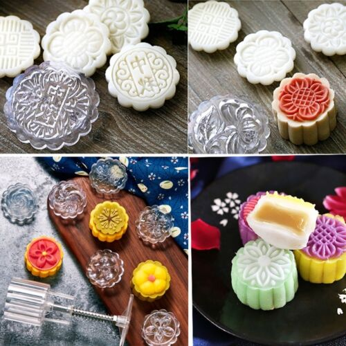 6 Flower Stamps Moon Cake Mould 50g Transparent Round Mooncake Mold Baking Decor 3