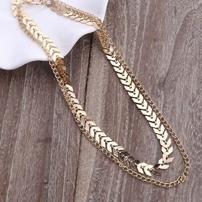 Fashion 925 Silver Gold Choker Chunky Chain Bib Necklace Women Jewelry Pendant