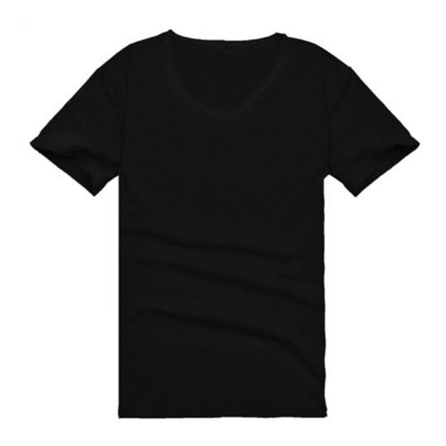 Summer Men V Neck Slim T-Shirt Tops Cotton Short Sleeve Black White 6
