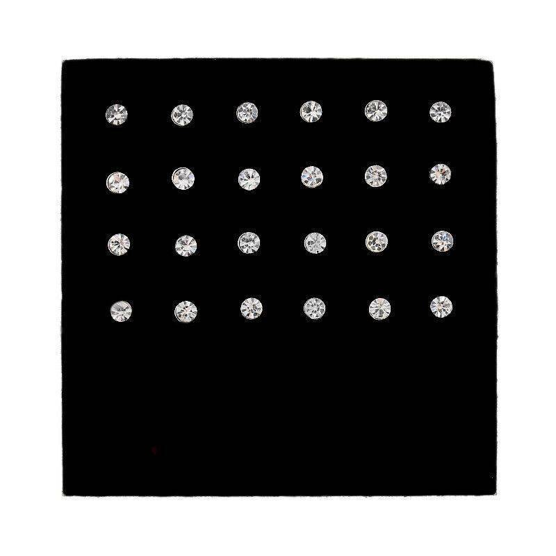 24Pcs Clear Crystal Rhinestone Nose Bone Studs Ring Bar Body Piercing Jewelry 7
