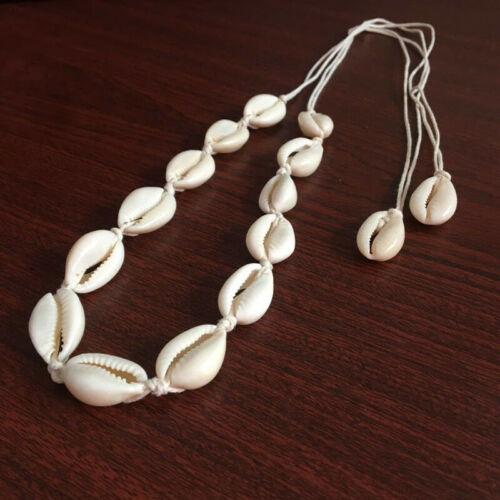 Women Retro Vintage Cowrie Shell Pendent Necklace Rope Choker Statement Jewelry 2