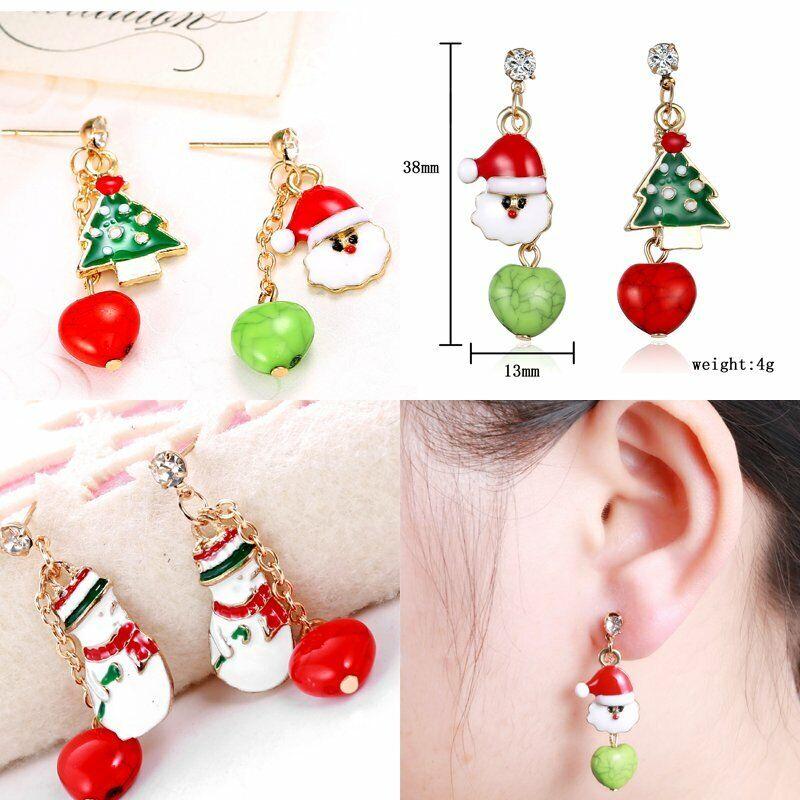 Fashion Women Christmas Earrings Enamel Crystal Drop Dangle Ear Stud Ear Hook 9