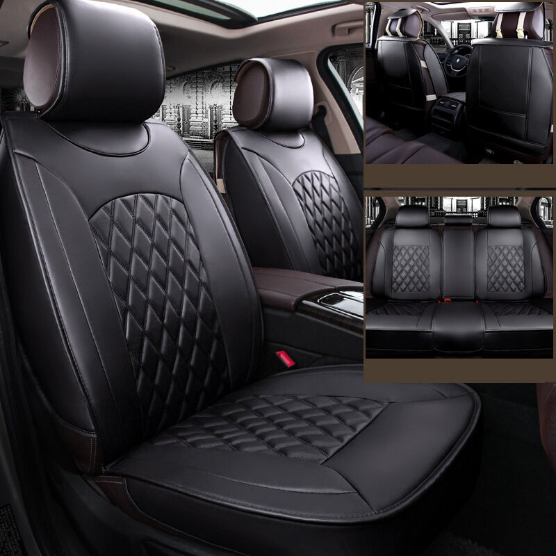 6 Of 12 Universal 5 Seats Car Interior Seat Covers Chair Cushion 3 Colors PU Leather UDW
