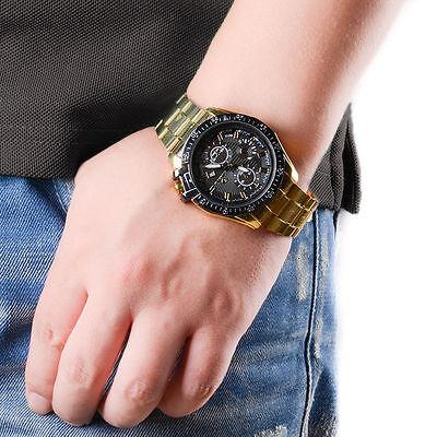 Luxury Mens Black Dial Gold Stainless Steel Date Quartz Analog Sport Wrist Watch 4