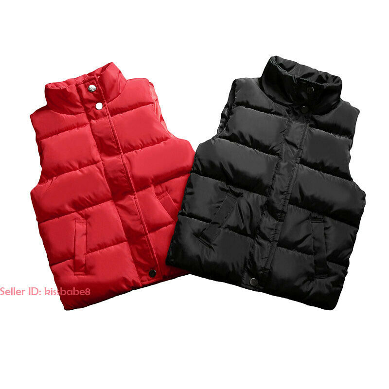 Kids Boys Girls Warm Cotton Down Vest Quilted Jacket Waistcoat Coats Snowsuits 12