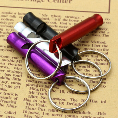 2pc Survival SOS Safety Metal Whistle Emergency Camping Hike Outdoor Kit Keyring 4