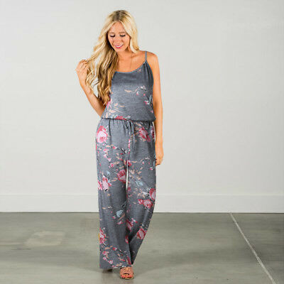 Boho Womens Floral Holiday Long Playsuits Dress Summer Beach Jumpsuit Plus Size 4