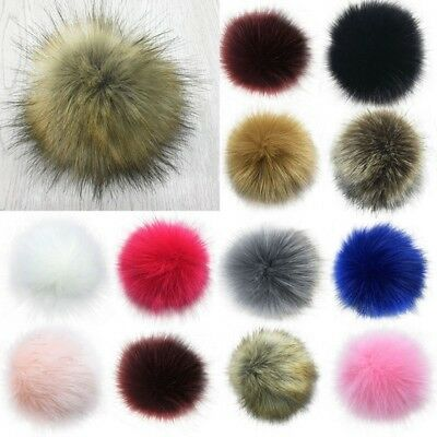 Women Large Faux Raccoon Fur Pom Pom Ball With Press Button For Knitting Hat DIY 2