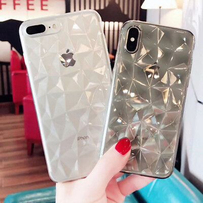For iPhone X 8 6s 7 Plus 3D Diamond Bling Crystal Soft Rubber Clear Case Cover 10