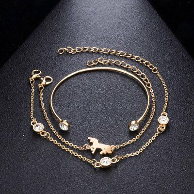 New Fashion Women Boho Gold Silver Bracelets Rhinestone Bangle Cuff Jewelry Set 8