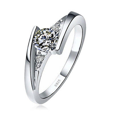 Classic 925 Silver Round Cut White Sapphire Engagement Ring Bridal Jewelry Gifts 6