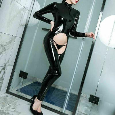 Sexy Wet Look Latexoptik Catsuit Overall Bodysuit Langarm Reißverschluss Dessous 8