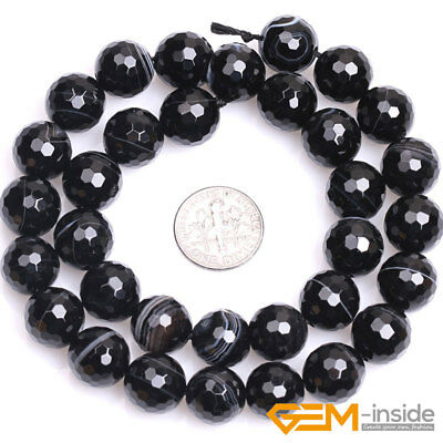 """Natural Faceted Gemstone Black Stripe Agate Round Beads For Jewelry Making 15""""Y 9"""