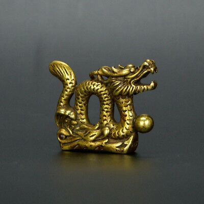 Chinese old collection handwork bronze Zodiac Dragon God statue Pendant a47 3