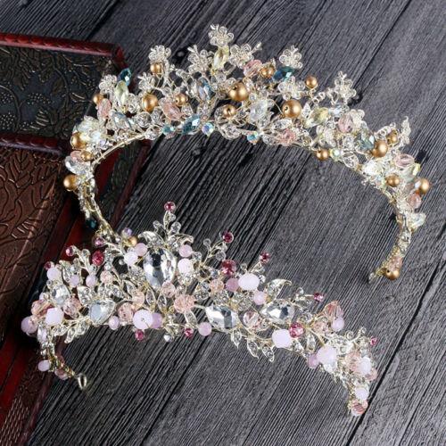 Bridal Princess Rhinestone Crown Hair Tiara Wedding Crown Veil Headband