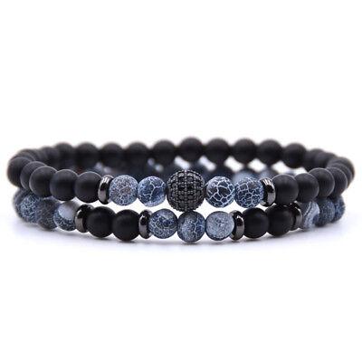 Bracciale uomo pietre set braccialetti in pietra agata con onice nero da blu 2